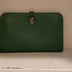Green leather wallet...